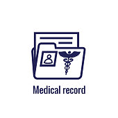Medical Records Icon - Caduceus and personal health record imagery - phr, emr, ehr