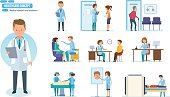 Healthcare system concept. Medical research and treatment. Reception by doctors, patient visits, therapist doctor, radiologist, surgeon, dentist, oculist, hospital staff People cartoon style