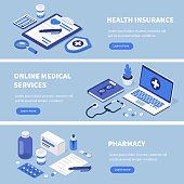 Medical services banners set. Can use for web banner, infographics, hero images. Flat isometric vector illustration.