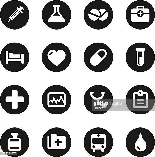 Medical Sign Icons - Black Circle Series
