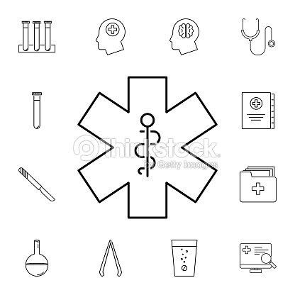 Medical Snake Symbol Line Icon Set Of Medicine Tools Icons