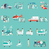 Medical Staff And Patients Different character in hospital, clinic, people cartoon character isolated on background, health care conceptual vector illustration.