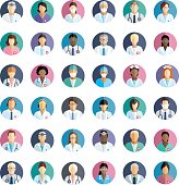 Icons with hospital doctors, surgeons, nurses and other medical practitioners.