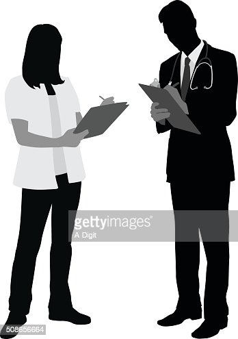 Medical Staff Taking Notes : Vector Art