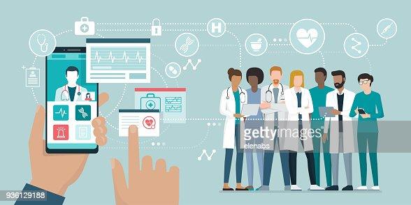 Équipe médicale et des soins de santé app : Clipart vectoriel