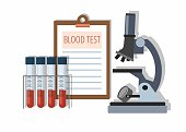 Medical test tubes with blood in holder, test results and Microscope on white. Vector Illustration