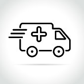 Illustration of medical van icon on white background