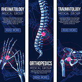Rheumatology and orthopedics traumatology medicine banners. Vector set of medical x-ray of human body bones and joints for leg knee or foot, spine and arm hand trauma, and wrist arthritis