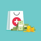 Medicine and money vector concept illustration, flat cartoon money pile with medical or pharmacy bag, expensive medical care, big spendings on drugs prescription