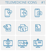Medicine, telemedicine vector outline icon set. Mobile phone and heart symbol with pulse line inside. Smart phone and first aid kit symbol. Desktop computer monitor with prescription Rx document icon.