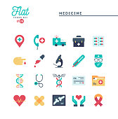 Medicine, health care, emergency, pharmacology and more, flat icons set, vector illustration