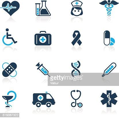 Salute e Medicina &  icone-Serie azzurro : Arte vettoriale