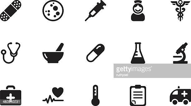 Medizinische Symbole.  Einfaches Schwarz