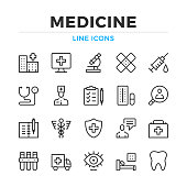 Medicine line icons set. Modern outline elements, graphic design concepts. Stroke, linear style. Simple symbols collection. Vector line icons