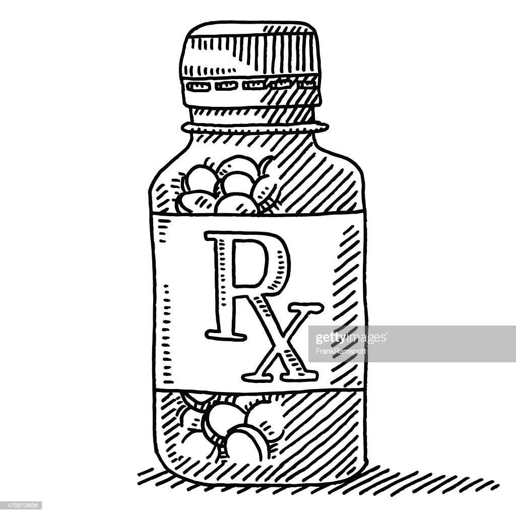 Medicine pill container rx label drawing vector art for How to draw a pill