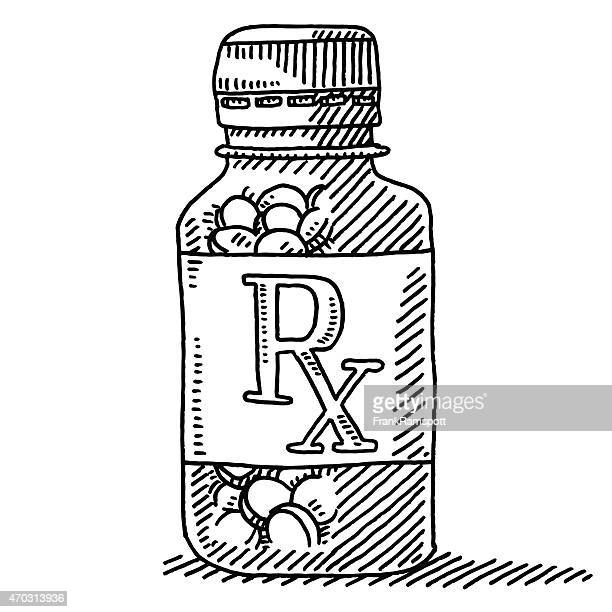 Medicine Pill Container RX Label Drawing