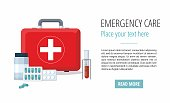 Medicine pills,  First Aid Box, Medical test tube. Web banner. Vector illustration