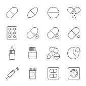 Medicine, pills set of vector icons outline style