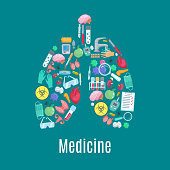 Medical poster designed of medicine items and tools in symbol of lungs. Vector surgery medications syringe, pills, tests and glasses, heart, brain and kidney, uterus and testicles, bladder human organ