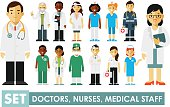 Practitioner young doctors man and woman standing. Medical staff in flat style isolated on blue background