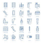 Medicines, dosage forms line icons. Pharmacy medicaments, tablet, capsules, pills, antibiotics, vitamins, painkillers, aerosol spray. Medical threatment health care thin linear signs for drug store