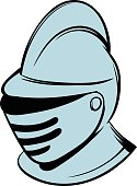 Medieval helmet icon in cartoon style isolated vector illustration