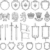 Medieval heraldic symbols isolate on white. Vector hand drawn illustrations. Medieval emblem royal crown and ancient sword