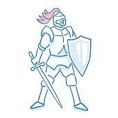 Medieval knight icon. Line sketch. Stock vector. Historical illustration