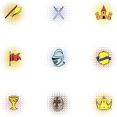 Medieval knight icons set. Pop-art illustration of 9 medieval knight vector icons for web