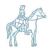 Medieval knight on horseback icon. Line sketch. Stock vector. Historical illustration