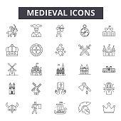 Medieval line icons, signs set, vector. Medieval outline concept illustration: medieval,castle,knight,ancient,shield,king