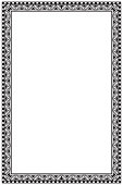 Medieval manuscript style rectangular frame. Vertical orientation. Black drawing isolated on white background. EPS10 vector illustration