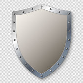 realistic metal medieval shield isolated