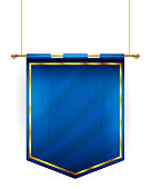Medieval style blue flag hanging on gold pole - isolated on white background. Vector illustration.