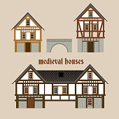 Medieval  ancient town houses. Set of beautiful vector illustrations in modern flat style isolated on a light beige background. Historic collection useful for maps, books and games design.