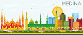 Medina Skyline with Color Buildings and Blue Sky. Vector Illustration. Business Travel and Tourism Concept with Historic Buildings. Image for Presentation Banner Placard and Web Site.