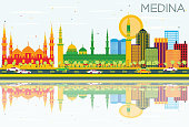 Medina Skyline with Color Buildings, Blue Sky and Reflections. Vector Illustration. Business Travel and Tourism Concept with Historic Buildings. Image for Presentation Banner Placard and Web Site.