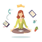 Meditation at work. Woman in lotus pose between working tools on white background.