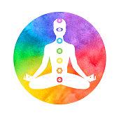 Meditation, aura and chakras. Vector illustration.