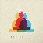 Meditation concept icon, illustration of Asian culture Buddha god statue in colorful style over texture background. EPS10 vector.