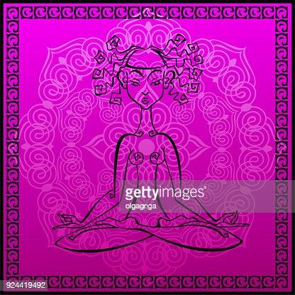 Meditation Esoterique Jeune Fille Medite Tapis De Yoga Mandala