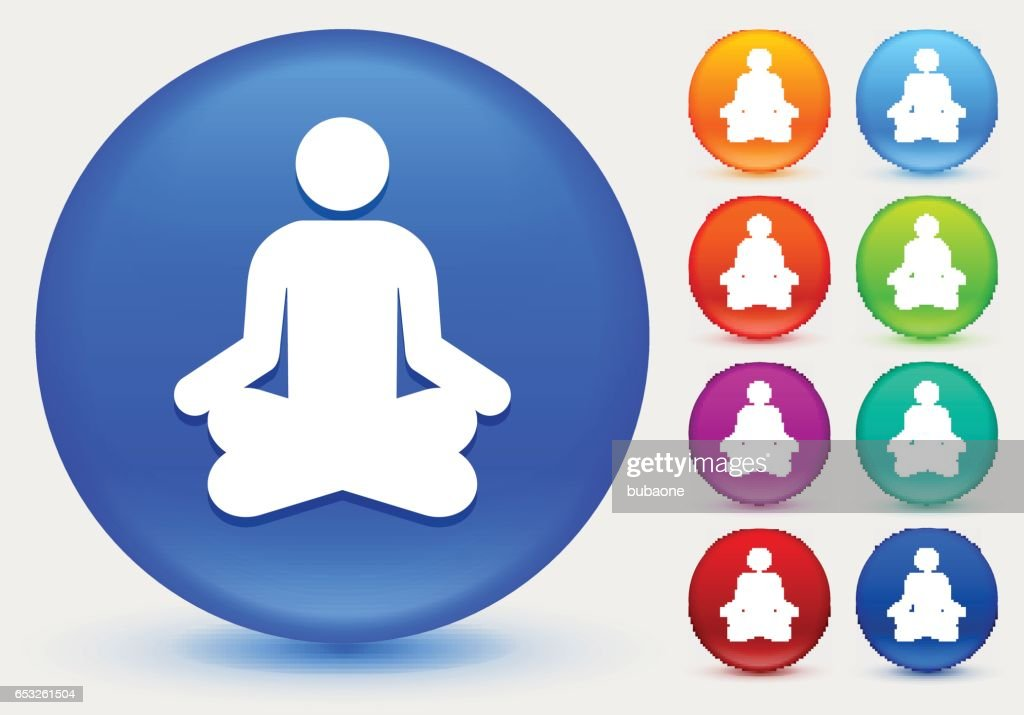 Meditation Icon on Shiny Color Circle Buttons : Vector Art