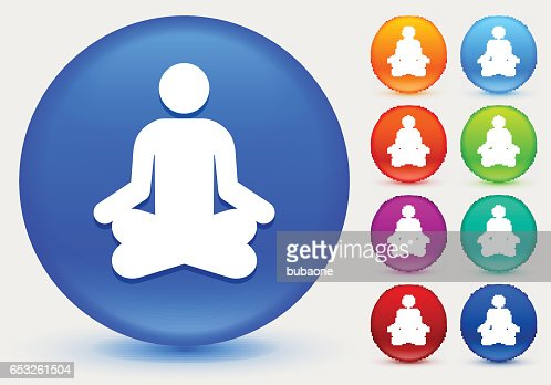 Meditation Icon on Shiny Color Circle Buttons : Vektorgrafik