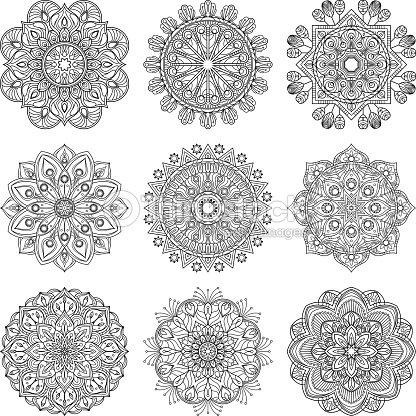 Patron De La Meditacion Ilustracion De Vector De Conjunto De - Mandalas-indios
