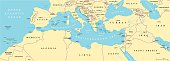 Mediterranean Basin Political Map. South Europe, North Africa and Near East with capitals, national borders, rivers and lakes. English labeling and scaling. Illustration.