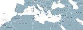 Mediterranean Basin political map. Mediterranean region, also Mediterranea. Lands around Mediterranean Sea. South Europe, North Africa and Near East. Gray illustration with English labeling. Vector.