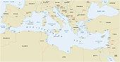 Mediterranean sea vector map
