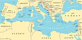 Region of lands around the Mediterranean Sea. South Europe, North Africa and Near East with capitals, national borders, rivers and lakes. English labeling and scaling. Illustration.