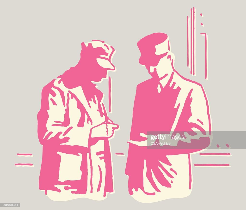 Meeting Between Two Mysterious Men : Vector Art