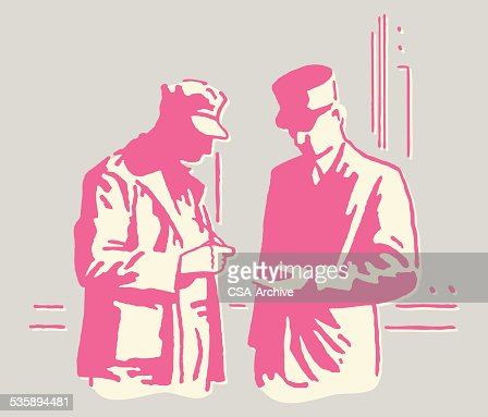 Meeting zwischen zwei geheimnisvolle Herren : Vektorgrafik